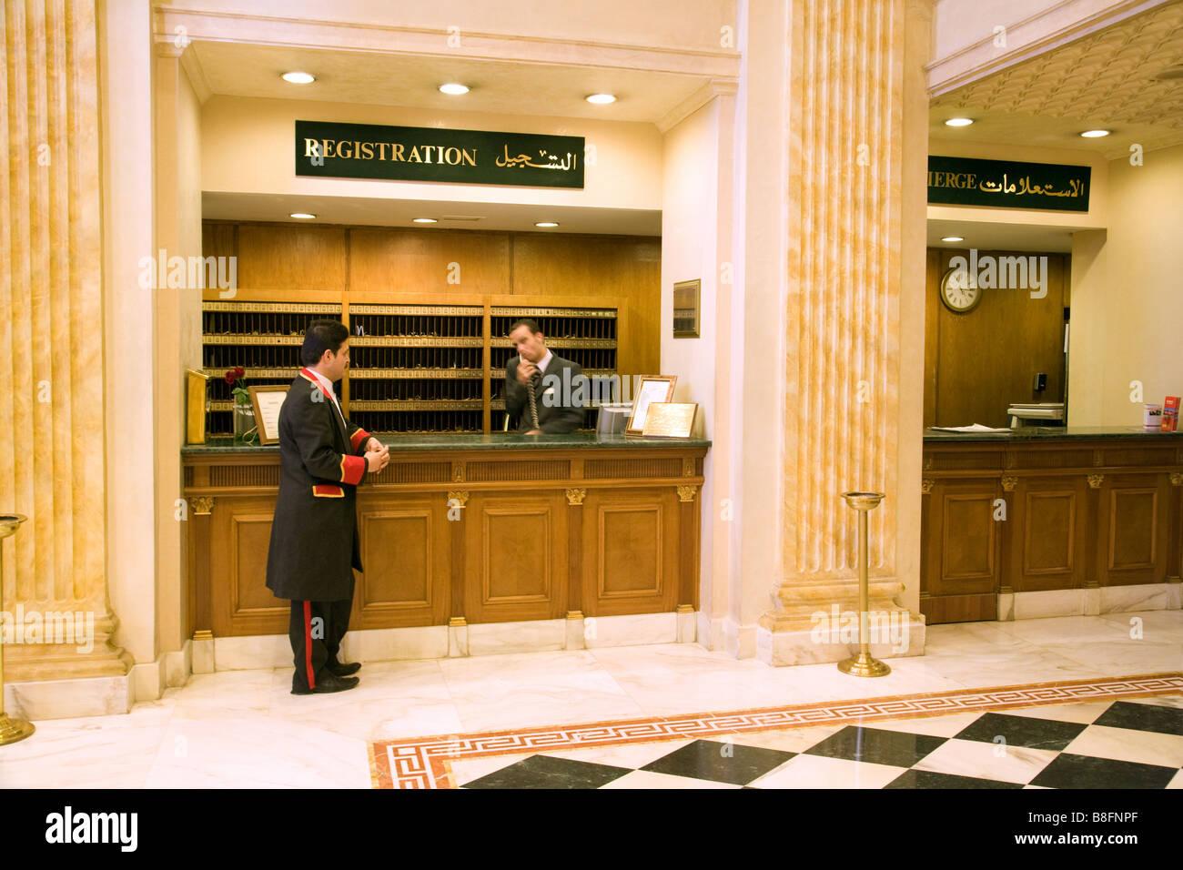 Porters At The Hotel Reception Desk, The Regency Palace Hotel, Amman,  Jordan,