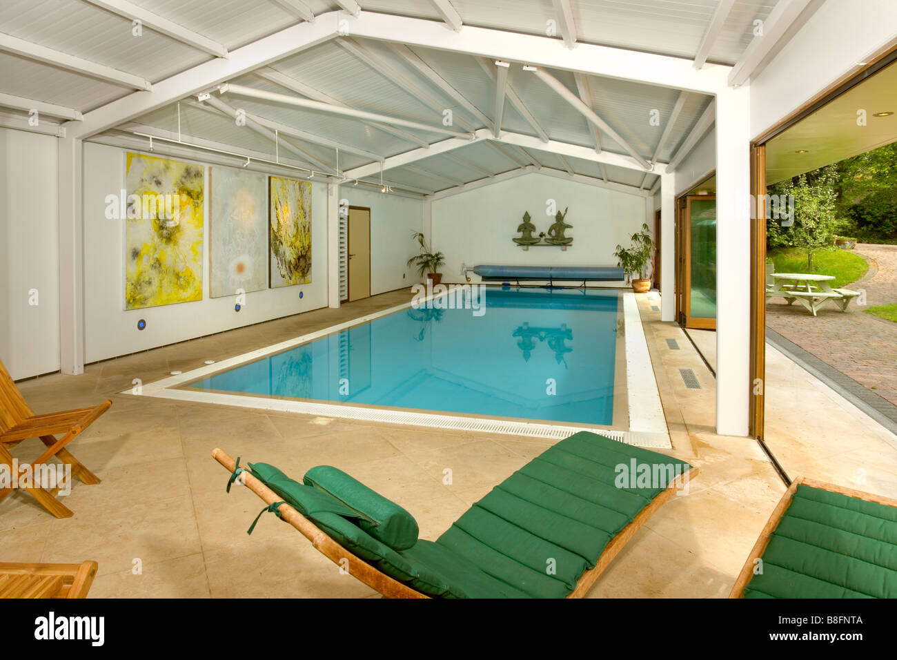 Uk A House Interior Private Indoor Swimming Pool Stock Photo Alamy