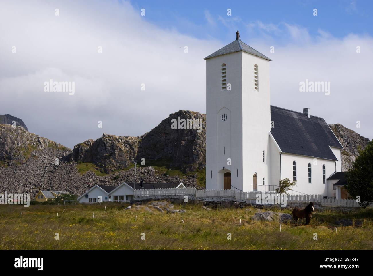 The new church in Sørland, Værøy, Lofoten, Nordland, Norway, Scandinavia - Stock Image