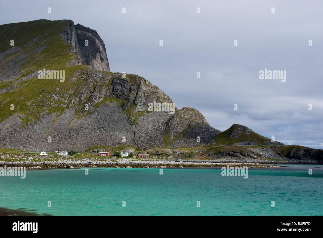 Bay halfway from Sørland to Nordland, Værøy, Lofoten, Nordland, Norway, Scandinavia - Stock Image
