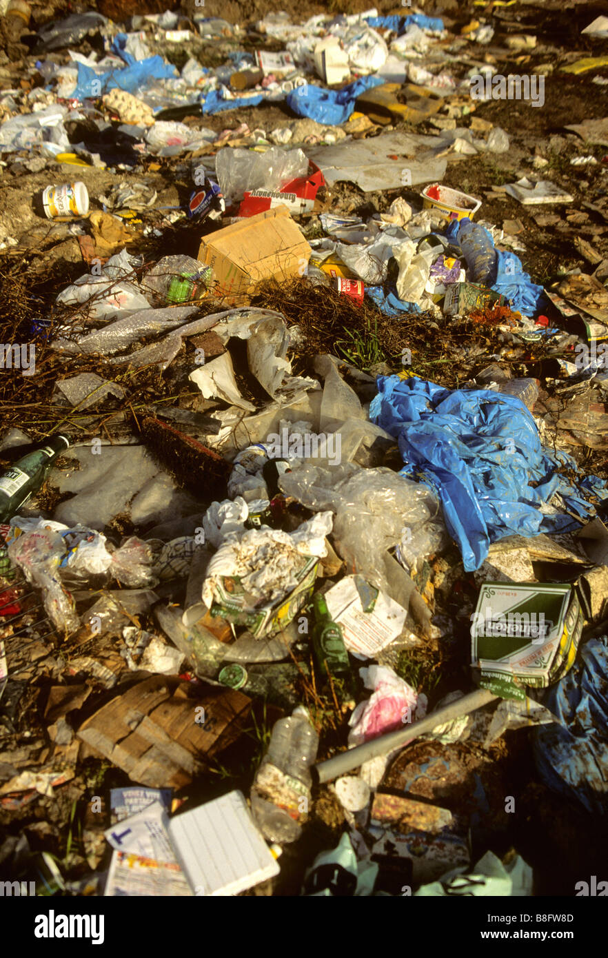 Waste at a landfill site, rubbish tip - Stock Image