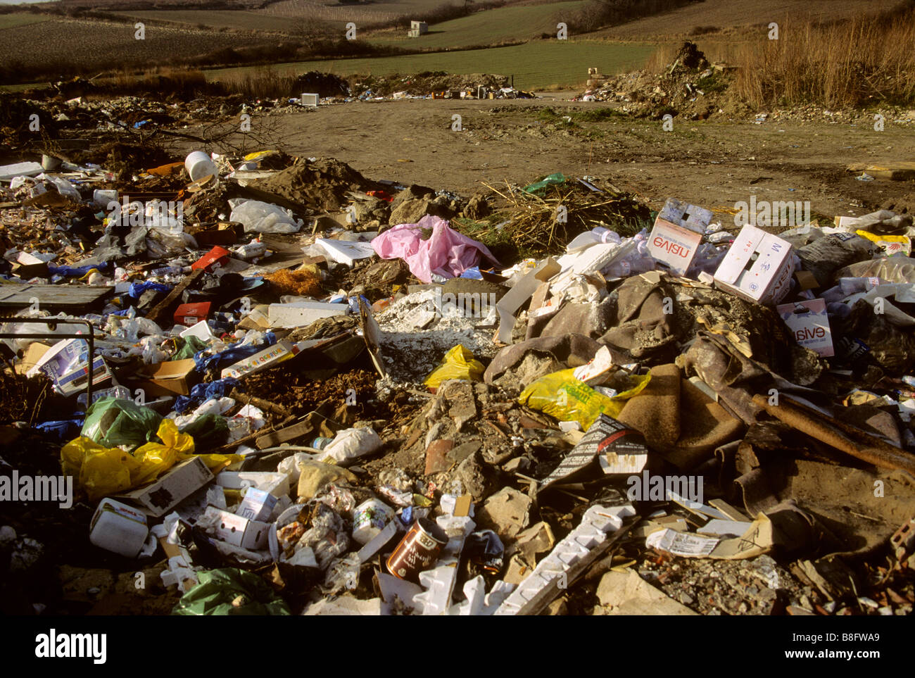 Rubbish tip / landfill waste site - Stock Image