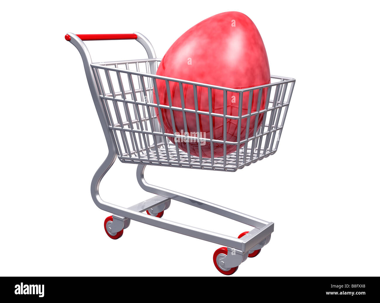 Isolated illustration of a stylized shopping cart containing a giant egg - Stock Image