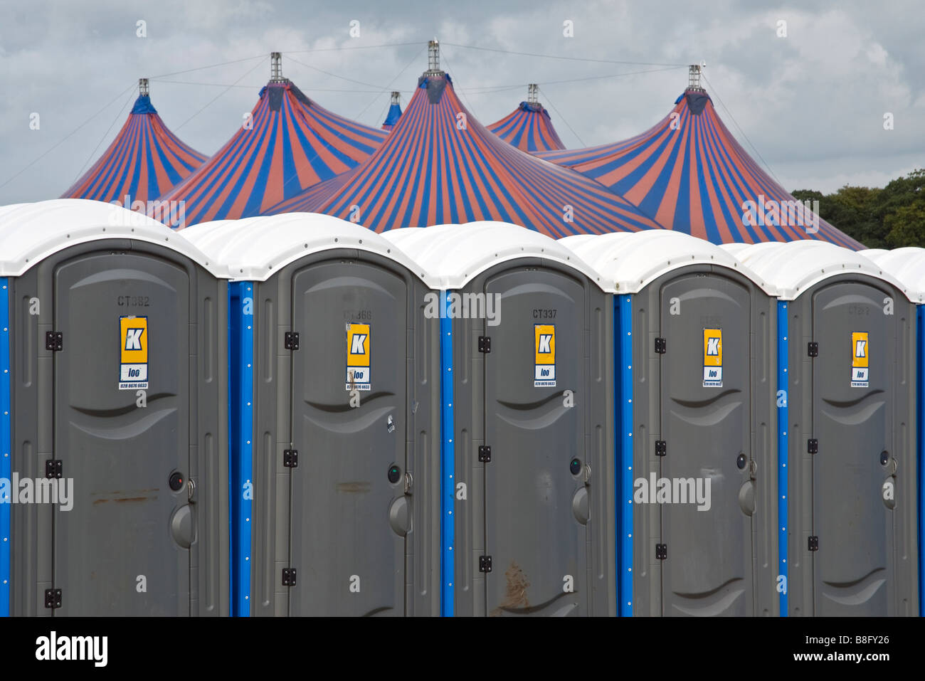 Portaloos in front of the main dance tent, Planet Love, Shane's Castle, Randalstown, County Antrim, Northern - Stock Image