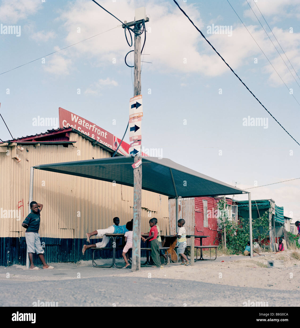 Khayelitsha Township in Cape Flats Western Cape in Cape Town in South Africa in Sub Saharan Africa. Apartheid Slum - Stock Image
