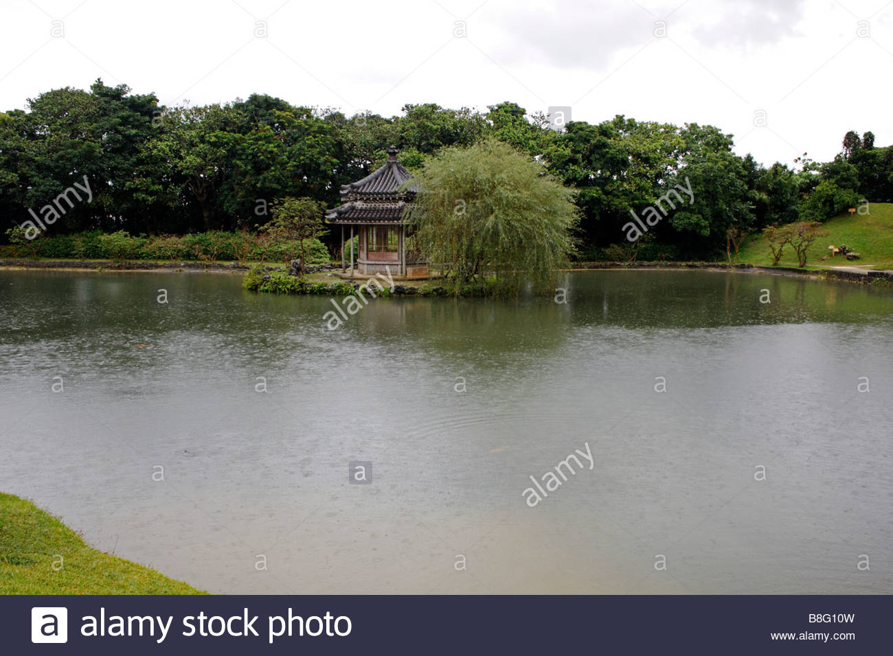 The Rokkaku-do pavilion of Shikina-En palace, Okinawa, Japan - Stock Image