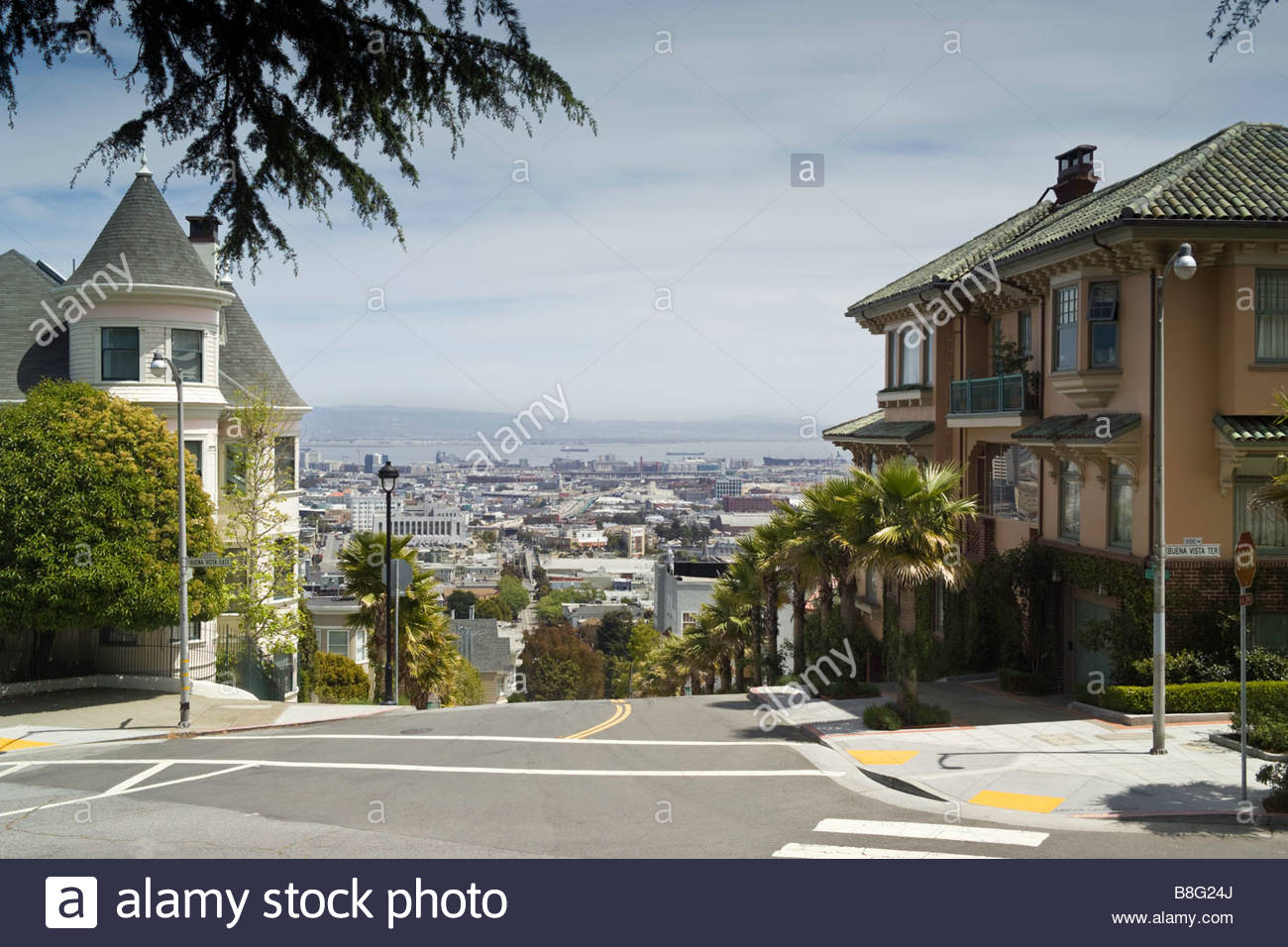 Street view overlooking San Francisco - Stock Image