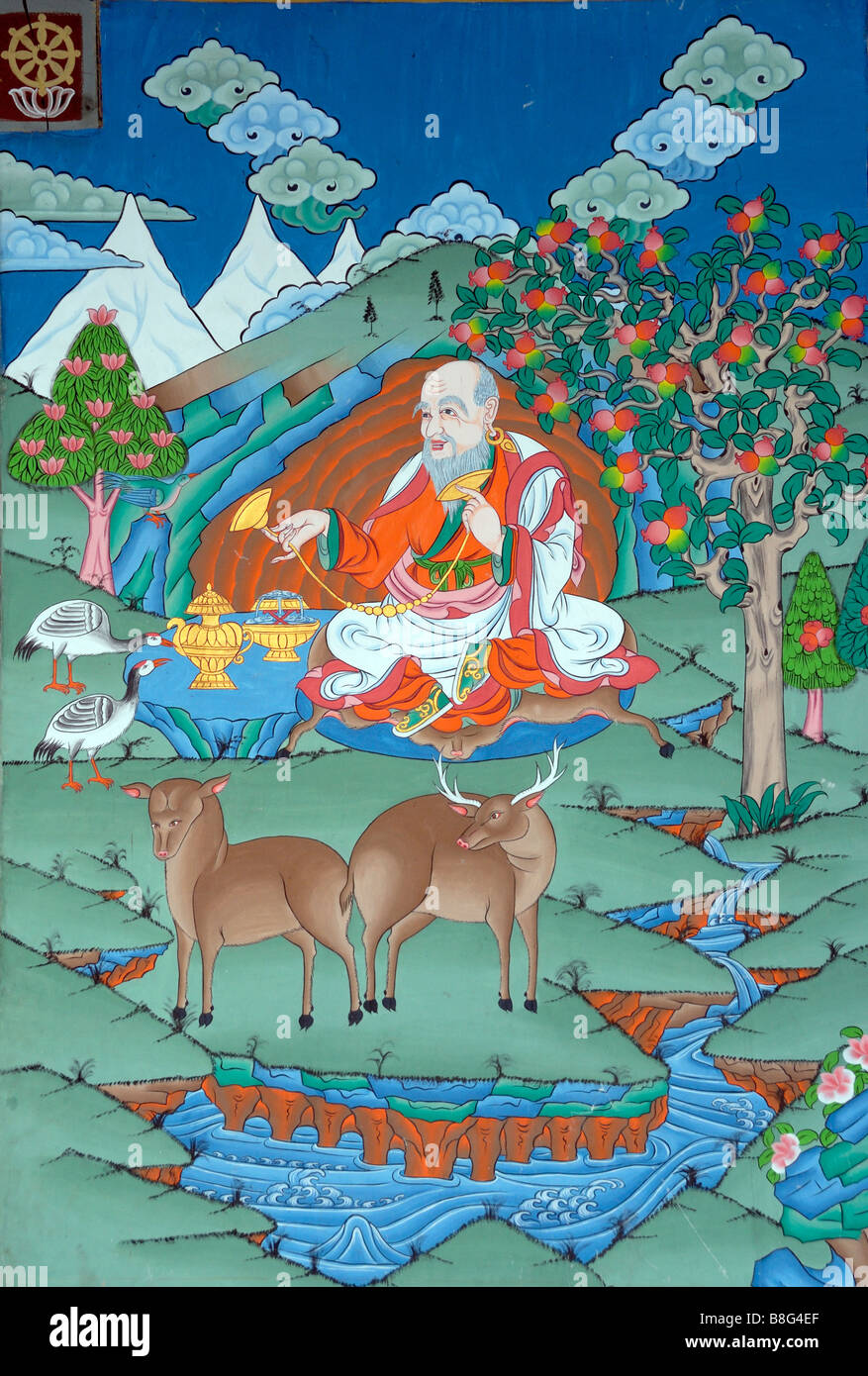 A Painting In Traditional Bhutanese Style Of A Benevolent Stock
