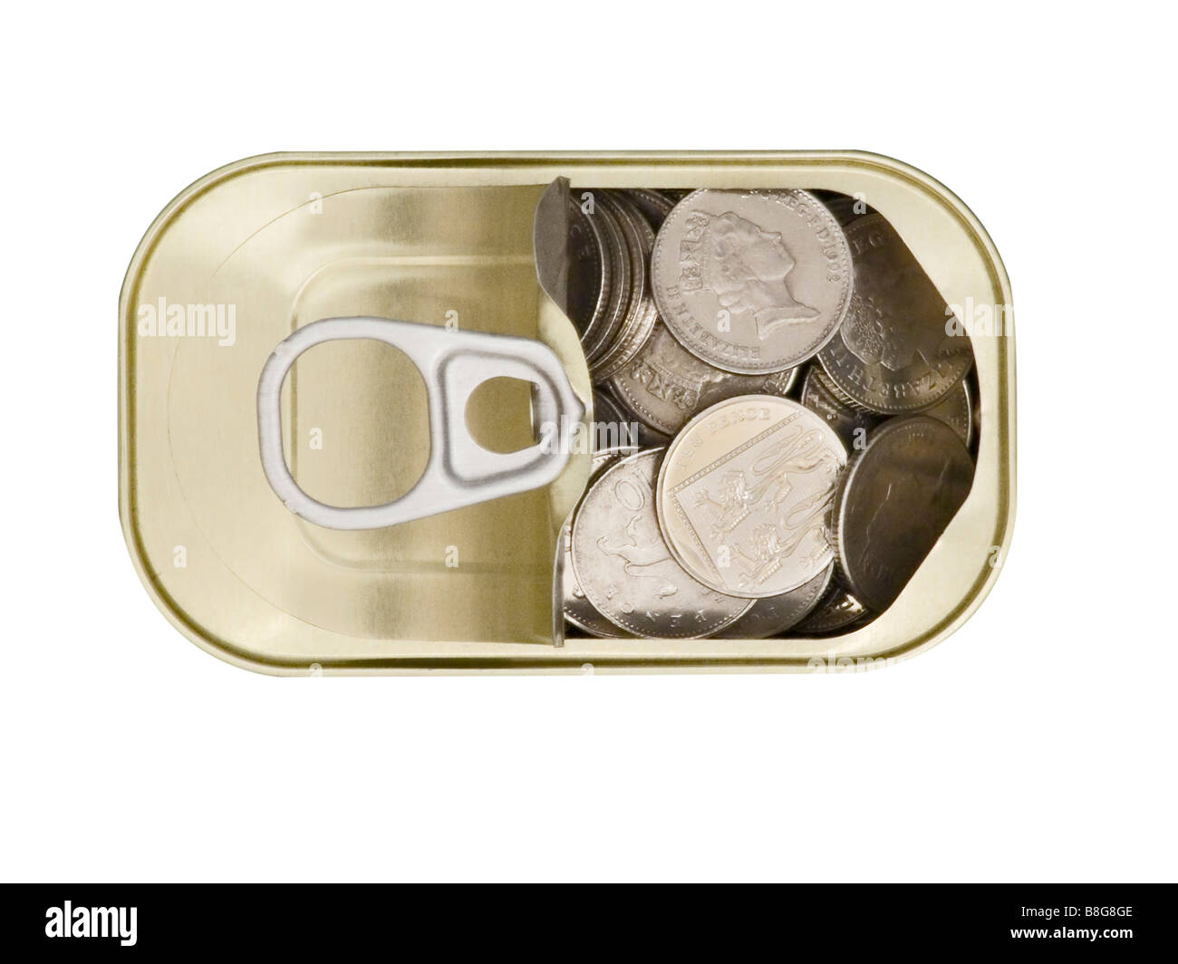 Ring Pull Tin Can containing Ten pence pieces on white background cutout - Stock Image