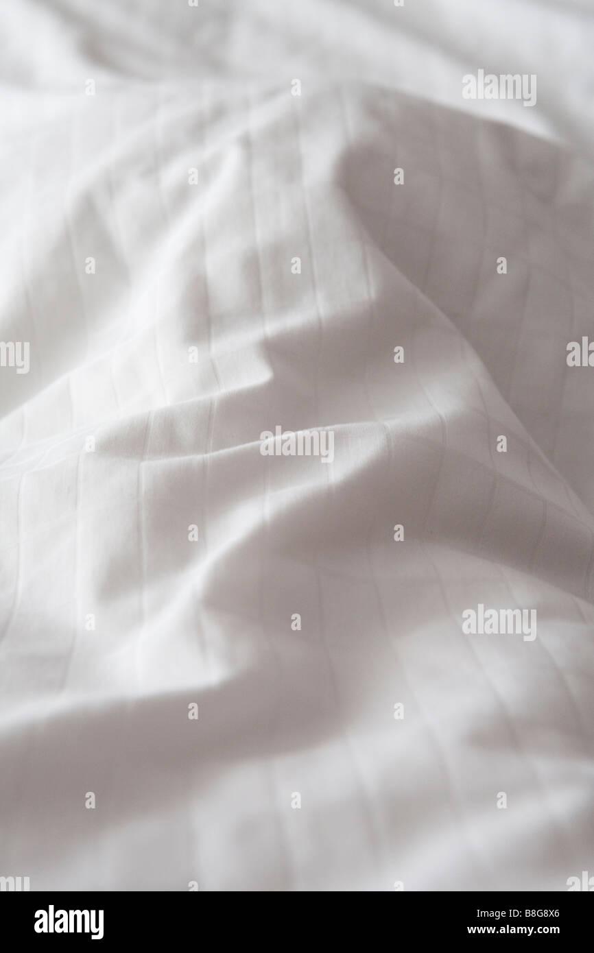 White cotton duvet bed cover - Stock Image