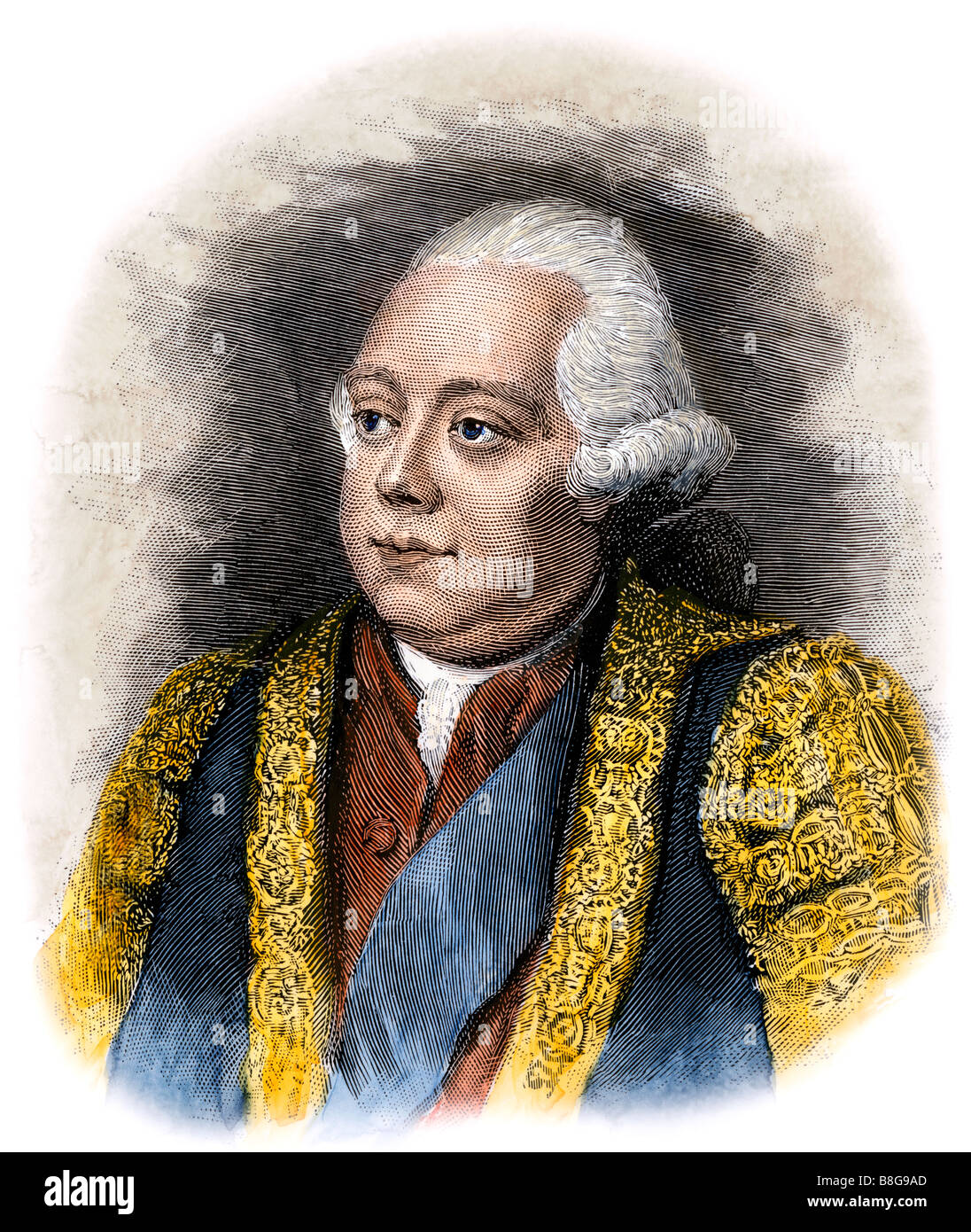 Frederick North known as Lord North prime minister to King George III. Hand-colored woodcut - Stock Image