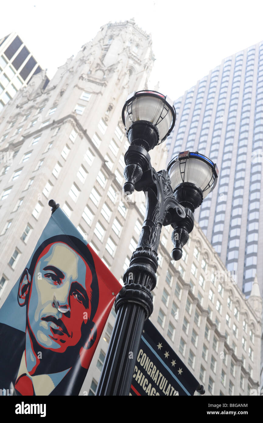 President Barack Obama poster in downtown Chicago on a lamppost - Stock Image