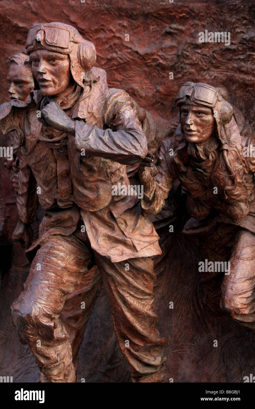 Close-up of part of the Battle of Britain monument on the Embankment in London - Stock Image