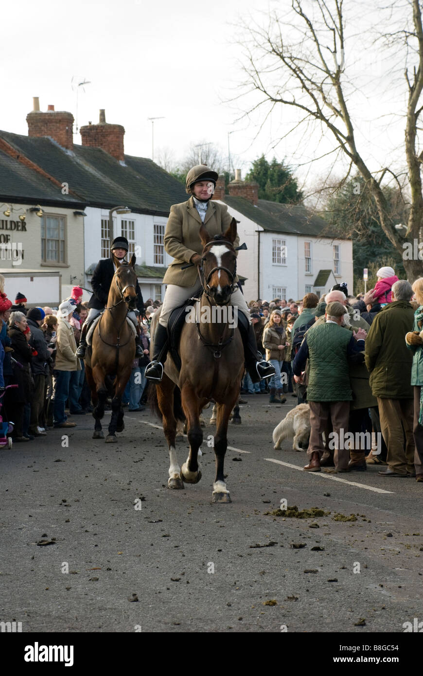 Horses of the Fernie Hunt at the traditional meet on Boxing Day Great Bowden Leicestershire, England - Stock Image