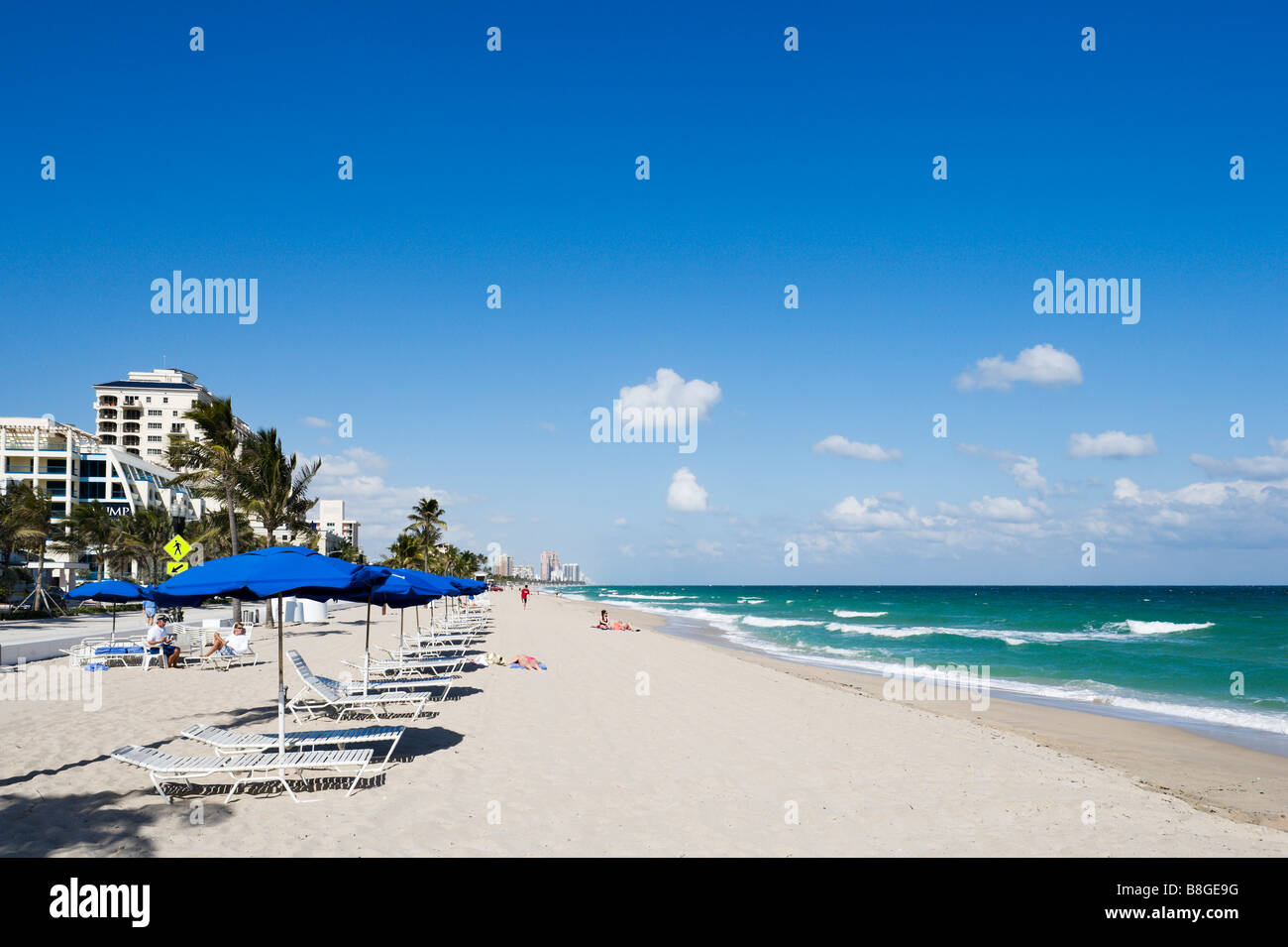 Fort Lauderdale Beach with Trump hotel behind, Gold Coast, Florida, USA Stock Photo