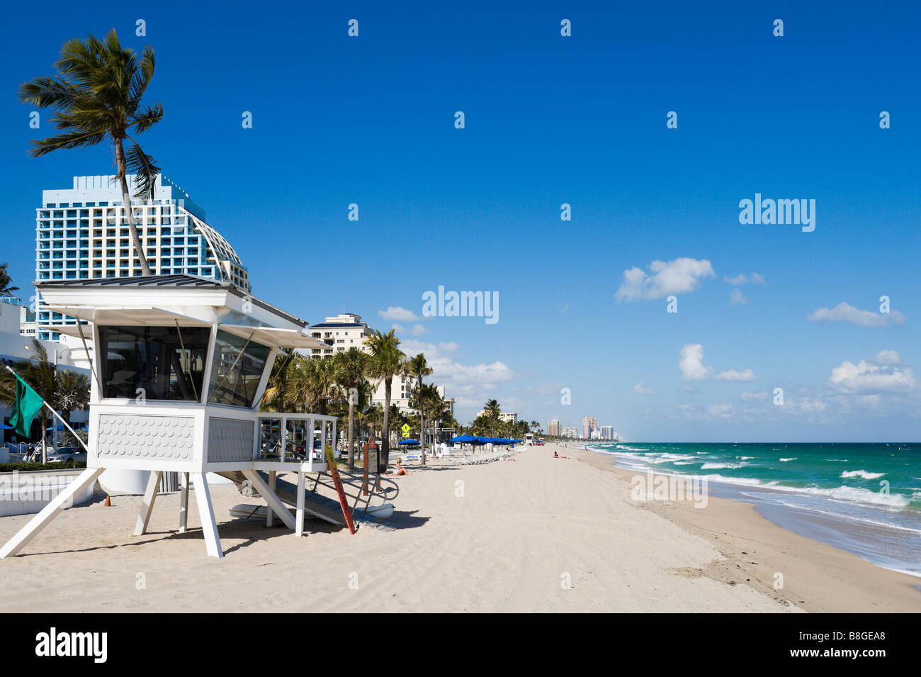Lifeguard Hut on Fort Lauderdale Beach with the Trump Hotel behind, Gold Coast, Florida, USA Stock Photo