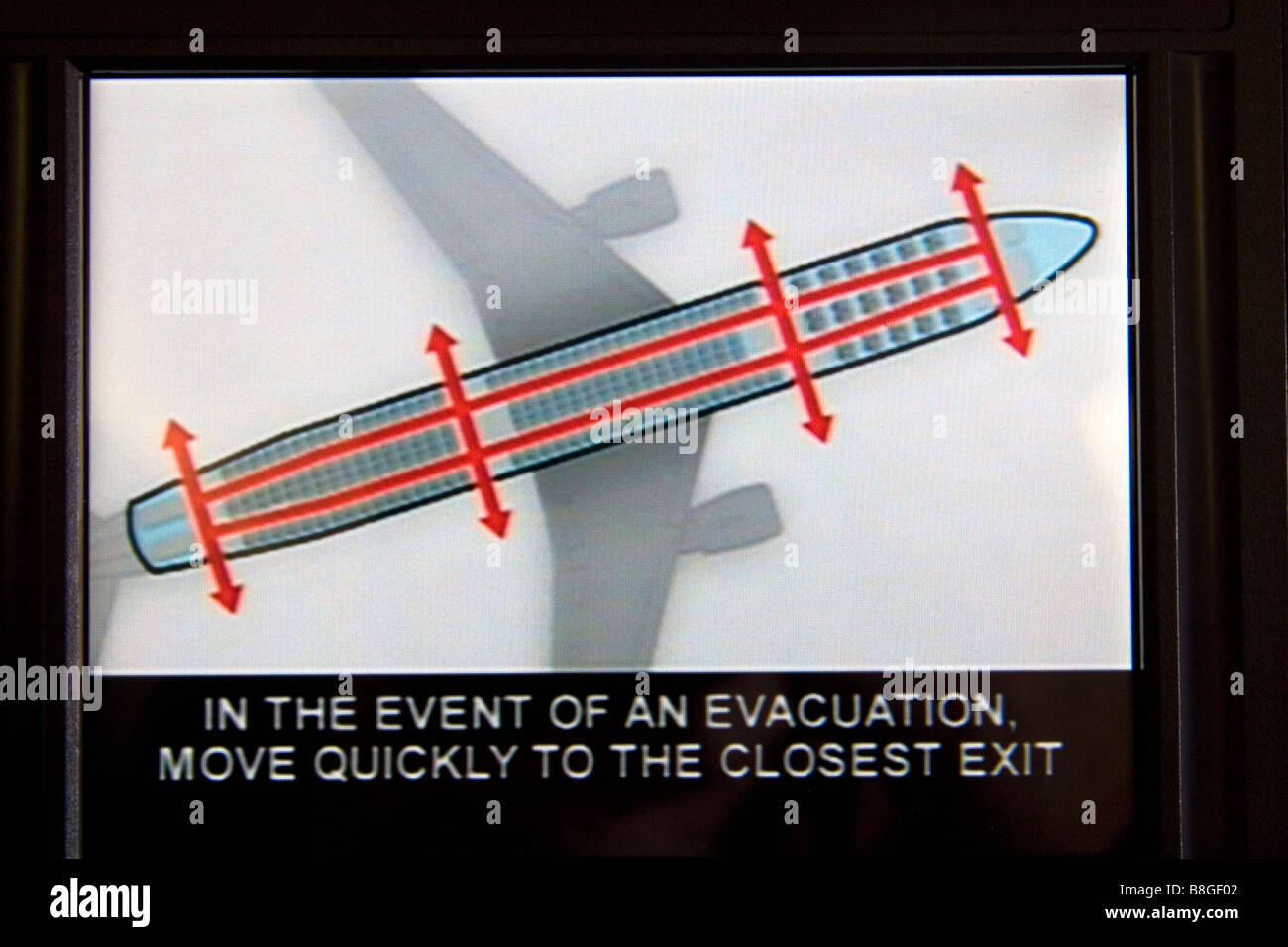 Seat back video safety instructions on an Airbus A 330 airliner - Stock Image