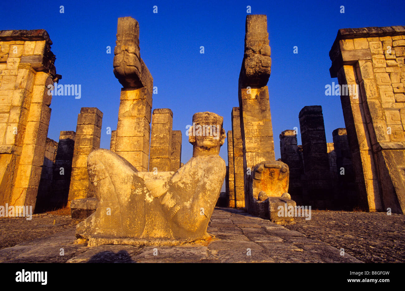 Chac Mool Mayan Rain God statue Temple of the Warriors Chichén Itzá Mexico - Stock Image