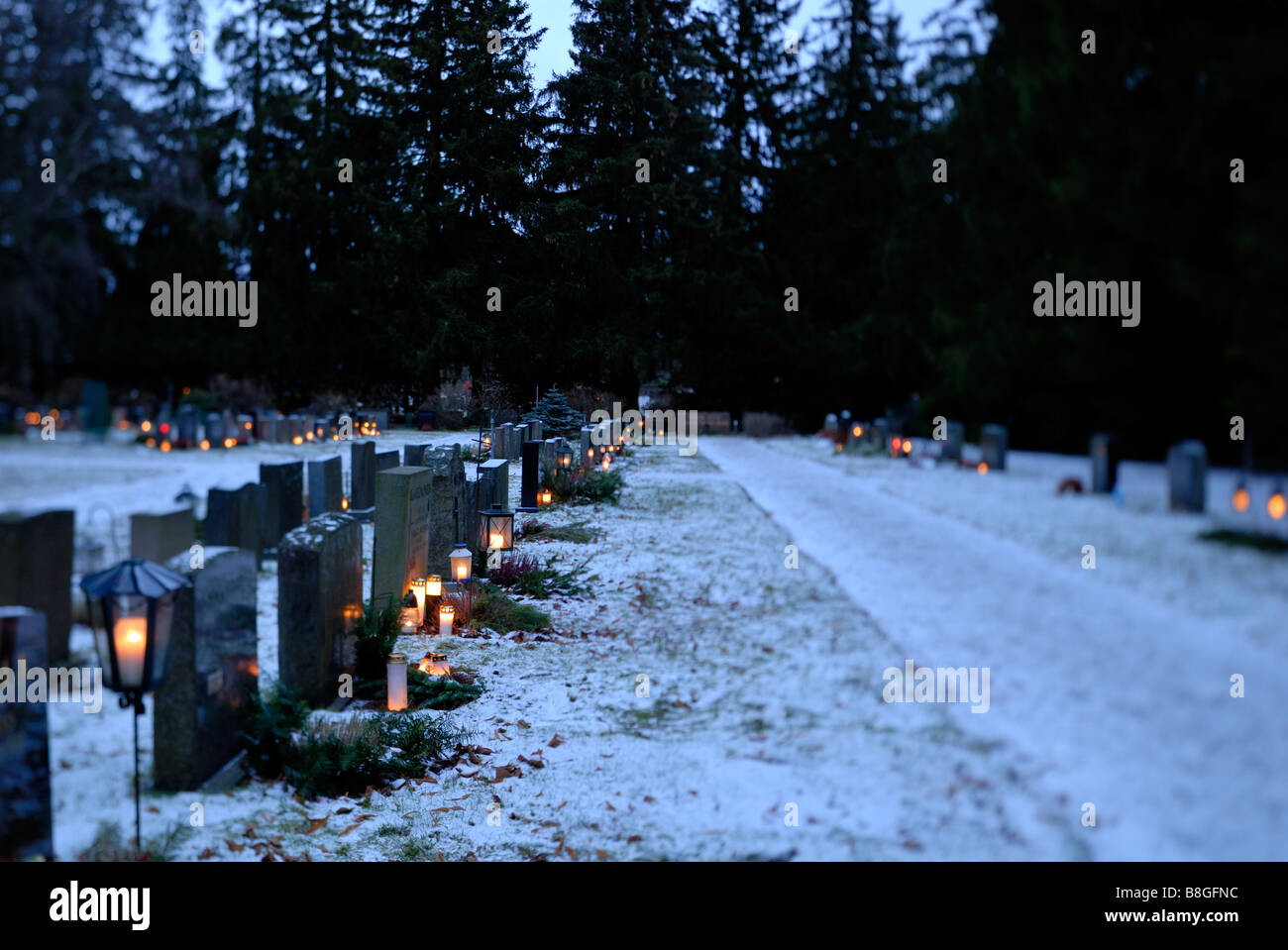 The Malmi cemetery in the Helsinki at the Christmas Eve, Helsinki, Finland, Europe. - Stock Image