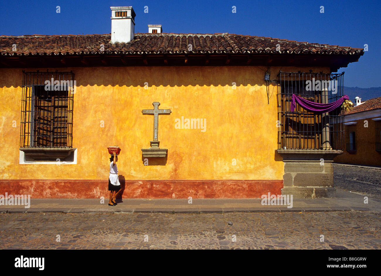 Spanish colonial architecture in the streets of Antigua Guatemala Sacatepéquez Region Guatemala - Stock Image