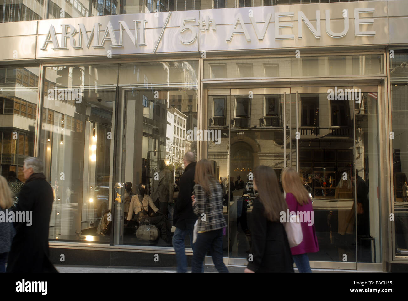 The new Armani store recently opened on Fifth Avenue in New York Stock Photo