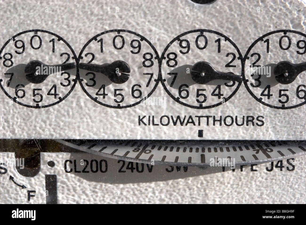 An electric meter measuring the amount of electrical energy supplied to a residence in Boise Idaho USA - Stock Image