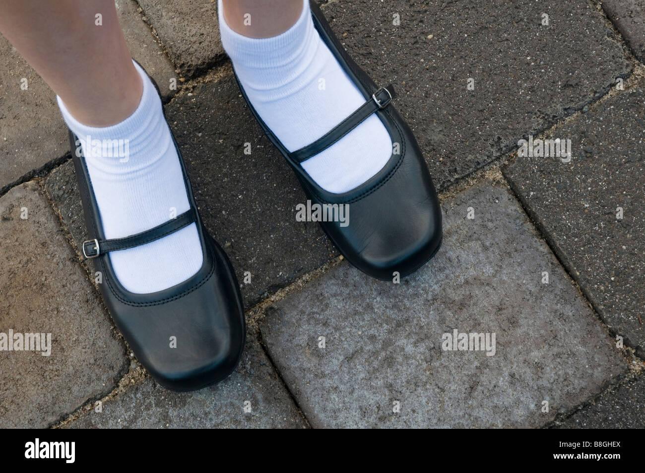 black school shoes Stock Photo