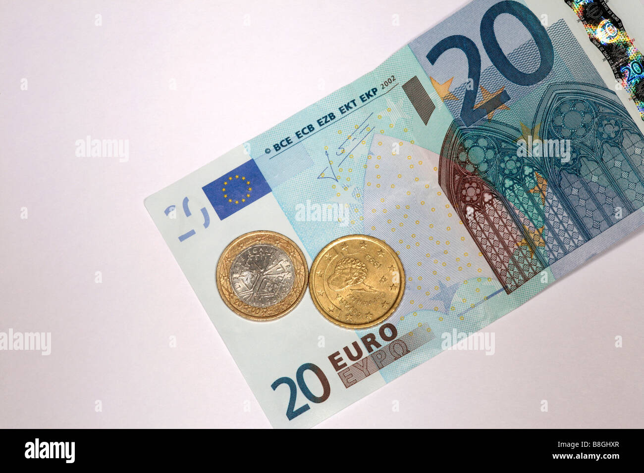 20 euro note with coins - Stock Image