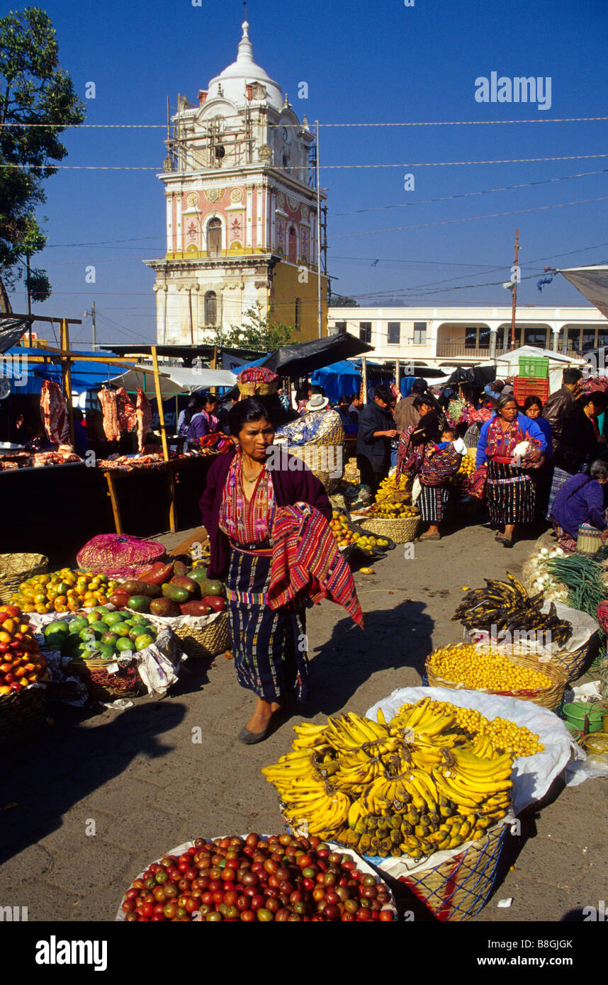 Women in traditional dress Solola market Guatemala Central America - Stock Image