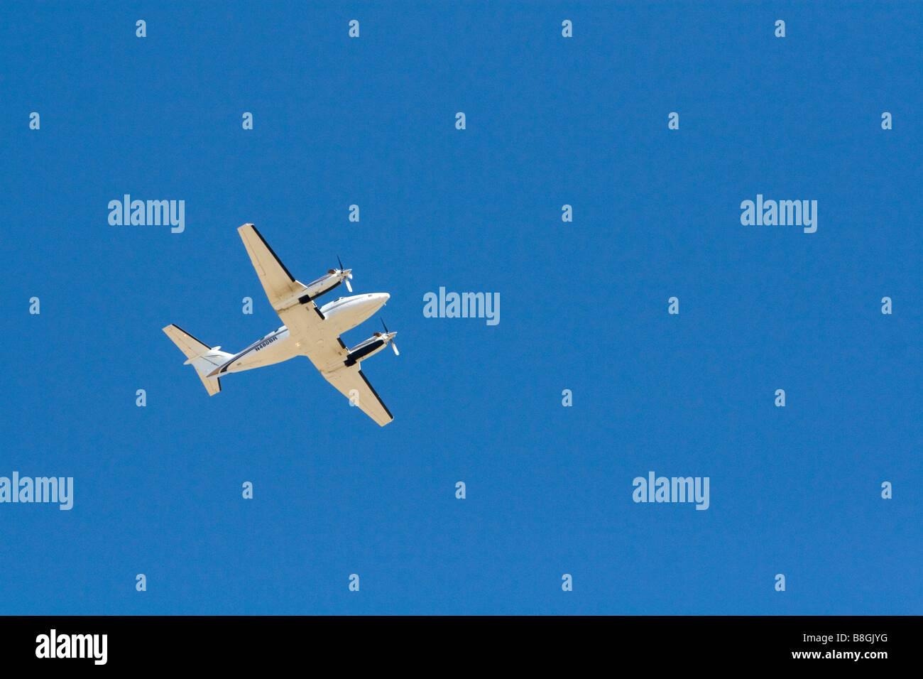 Beechcraft Kingair in flight over Boise Idaho USA - Stock Image