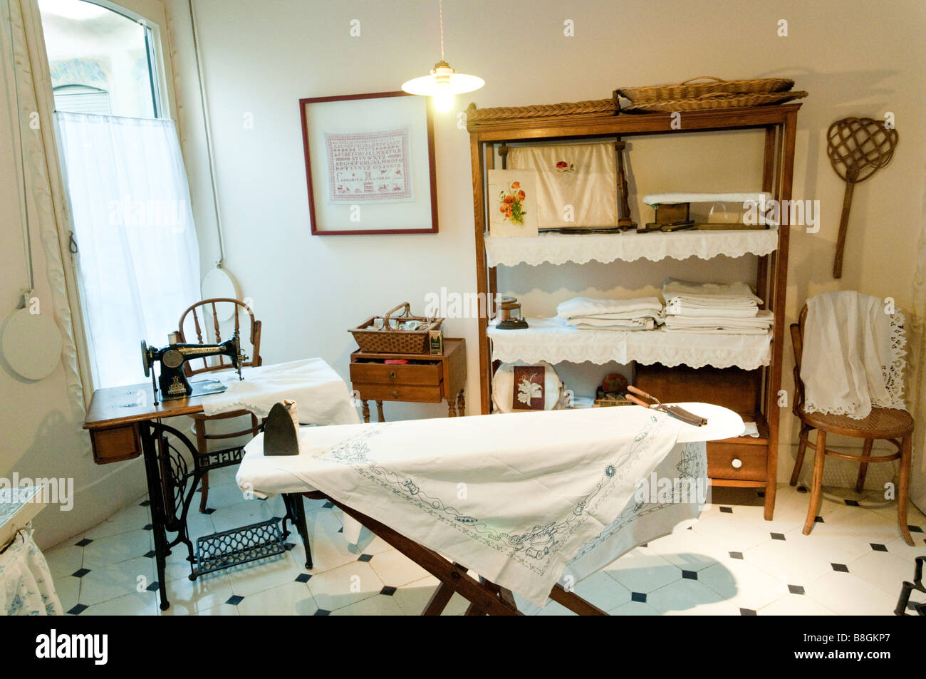 Early 20th century laundry room Casa Mila by Antoni Gaudi Barcelona, Spain - Stock Image