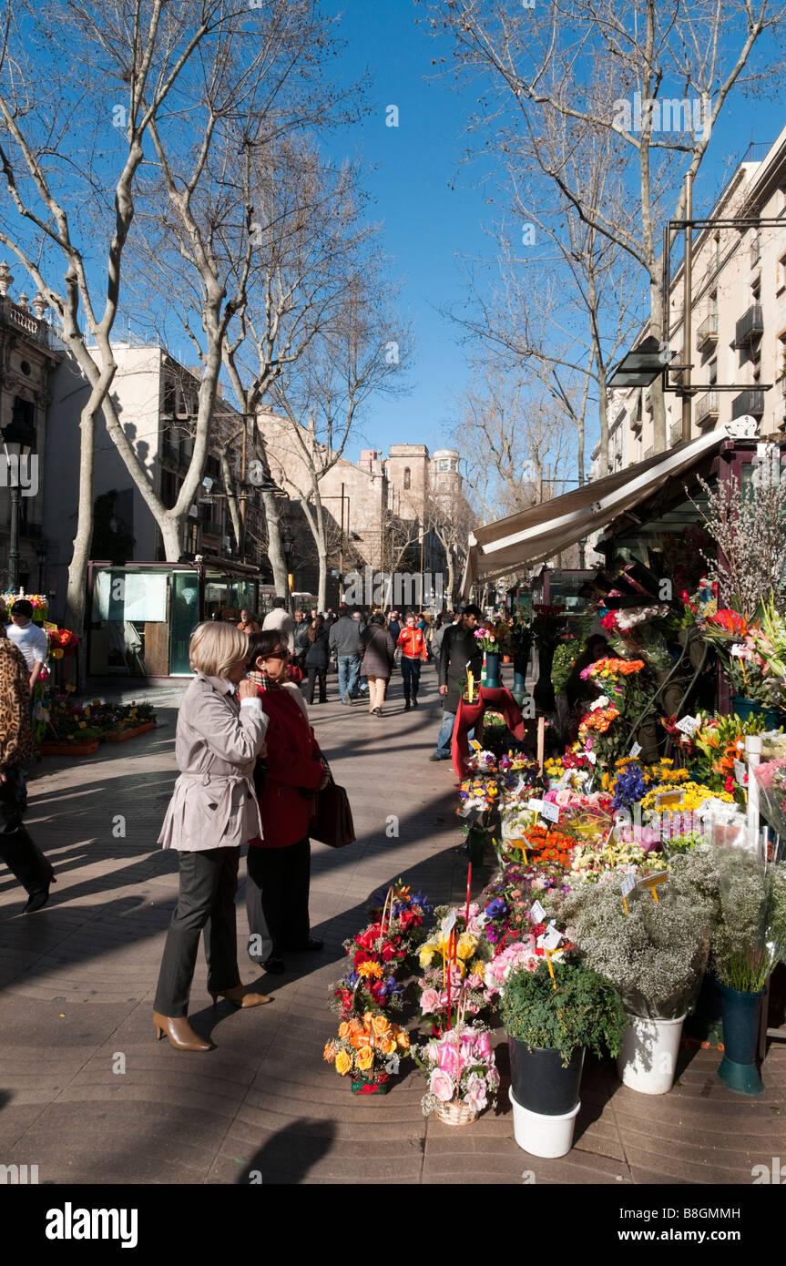 Flower stall on La Rambla in winter Barcelona, Spain - Stock Image