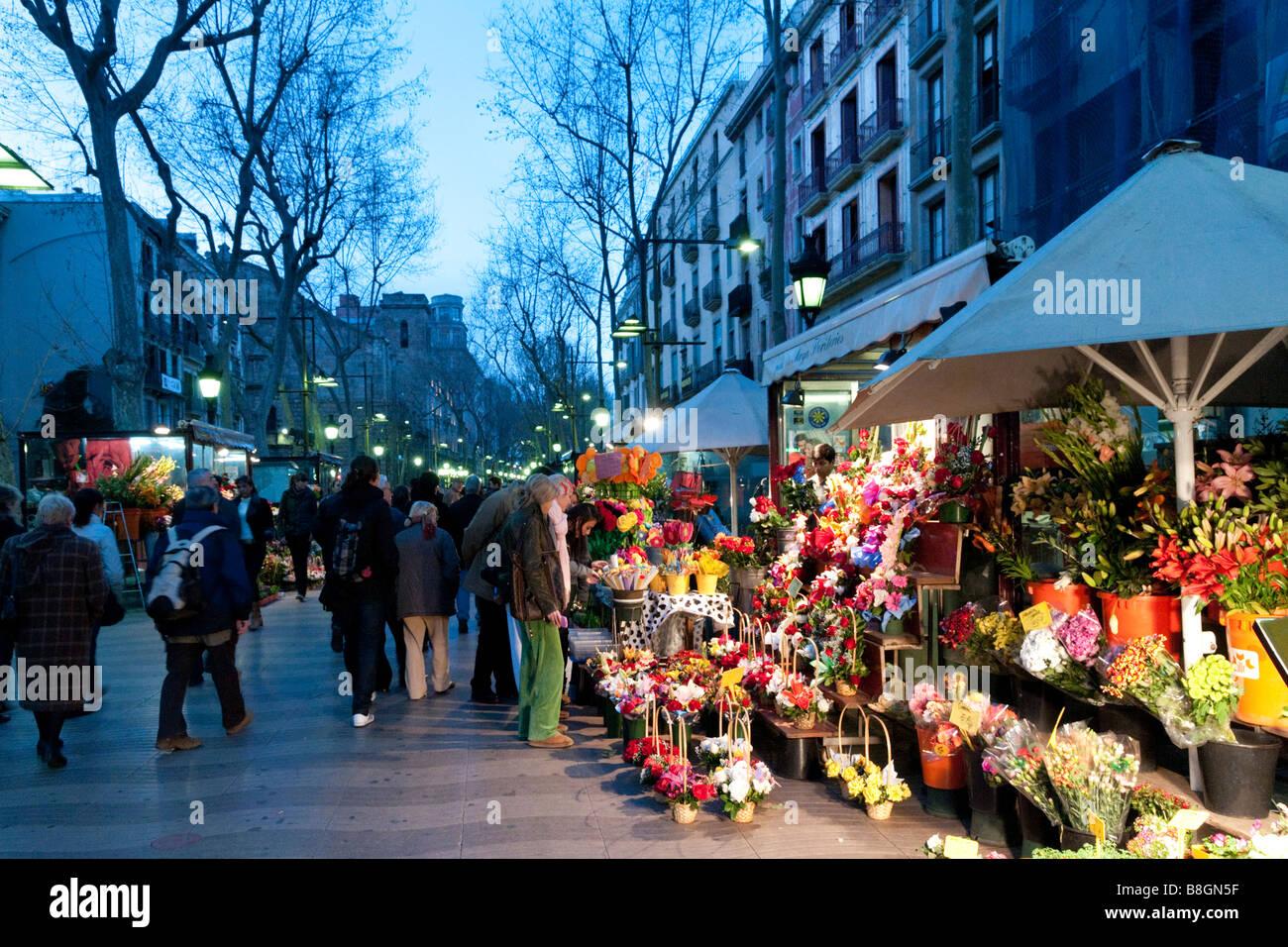 Flower stall on La Rambla, Barcelona, Spain - Stock Image