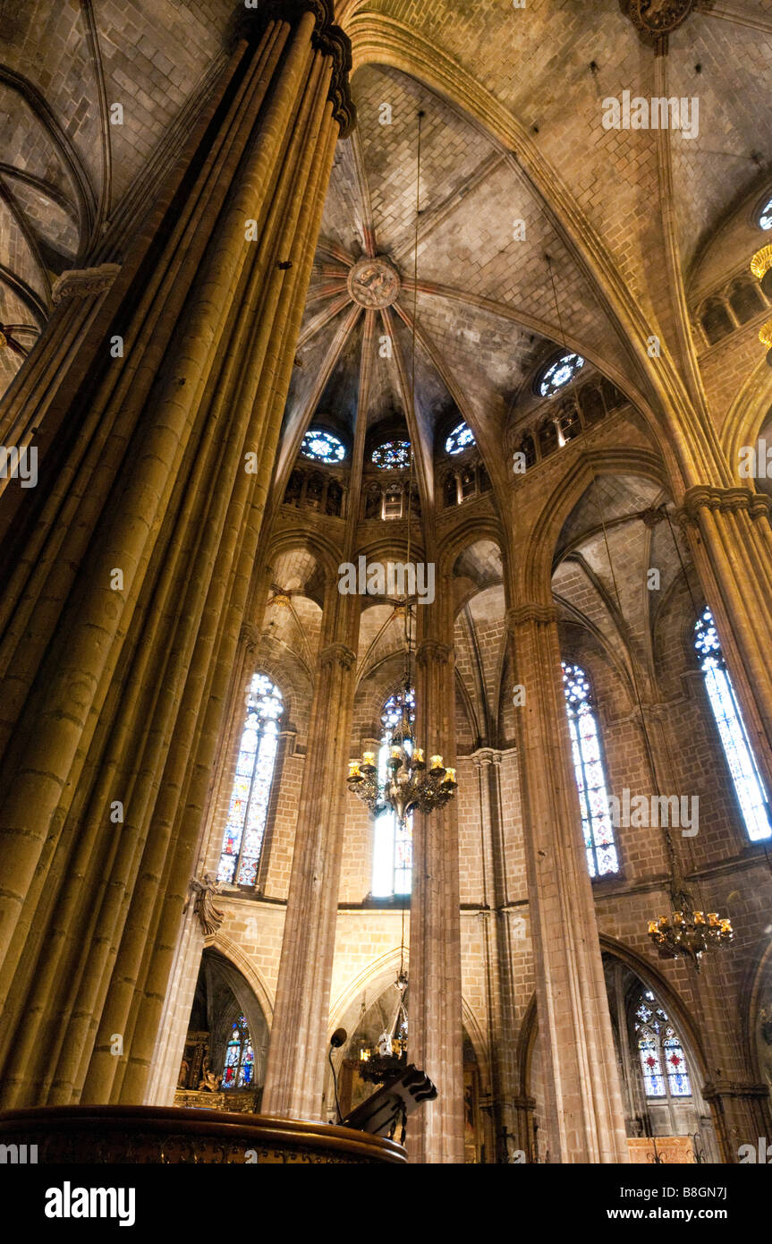 Interior of the Cathedral in the Barri Gotic Barcelona, Spain - Stock Image