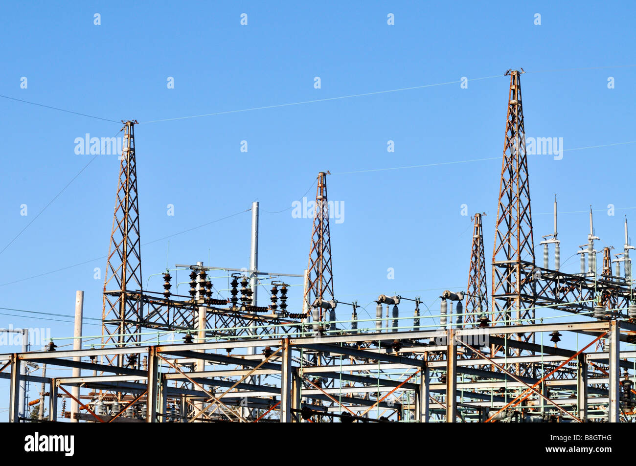 Electrical substation switch towers - Stock Image