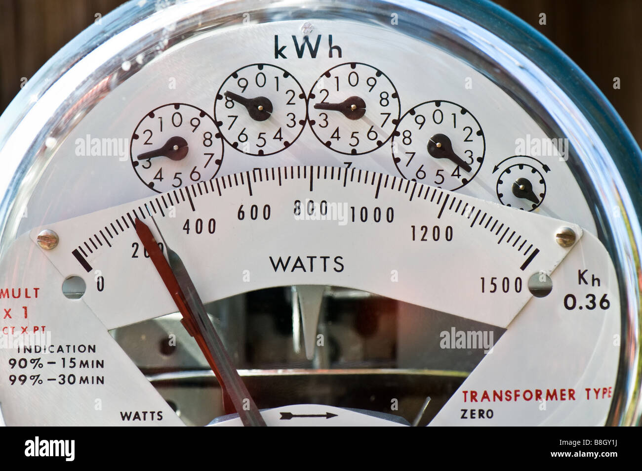 Dials measuring Kilo Watt Hours of electricity used. - Stock Image