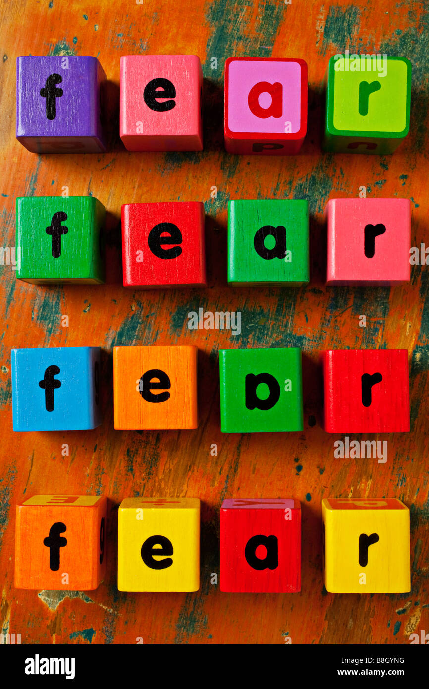 block letters spelling out fear - Stock Image
