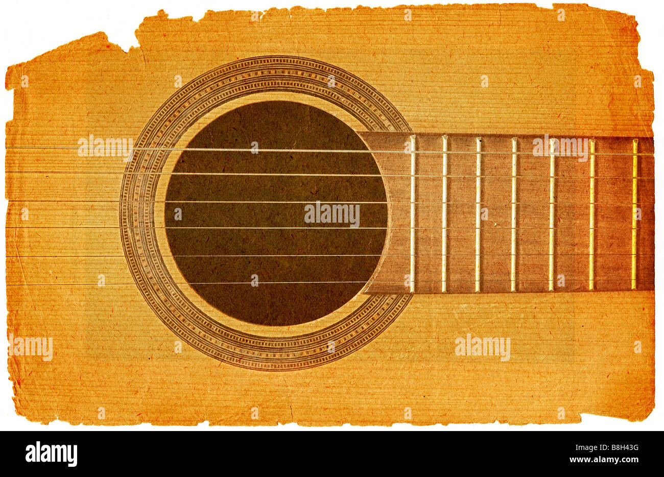 background with acoustic guitar in grunge style - Stock Image