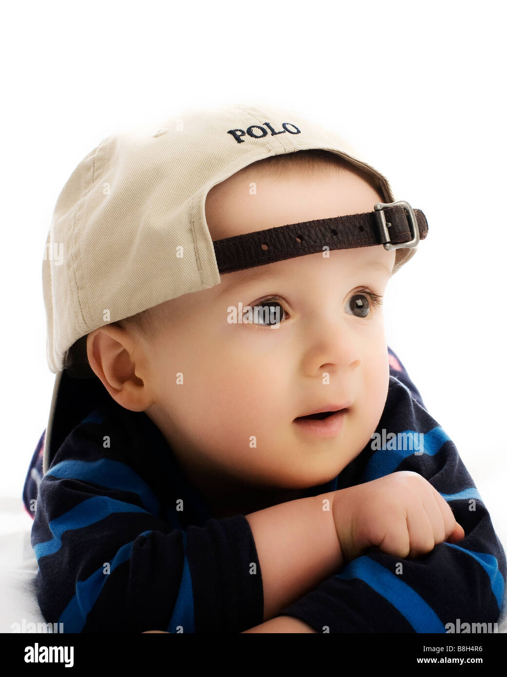 10 month old Baby boy wearing Polo baseball cap Stock Photo ... c606b955a4e