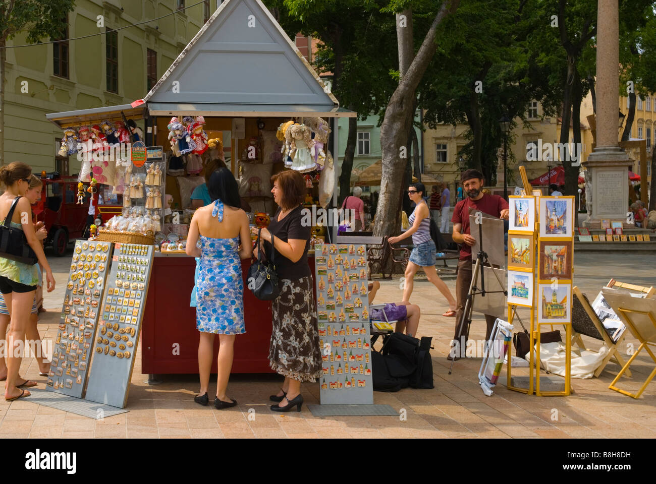 Gift and souvenir stalls at Hlavni nam main square in old town of Bratislava Slovakia - Stock Image
