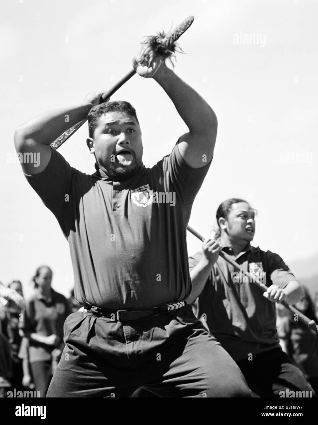 Threatening powhiri challenge by members of Te Roopu Manutaki Trentham Race Course Upper Hutt New Zealand - Stock Image