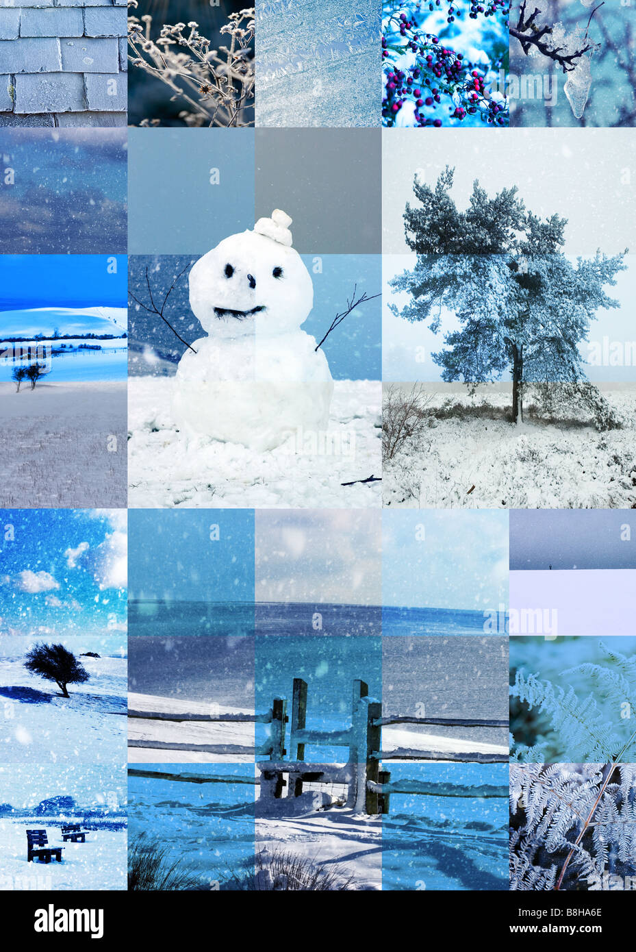 Illustraion of snow british scenes and icons - Stock Image
