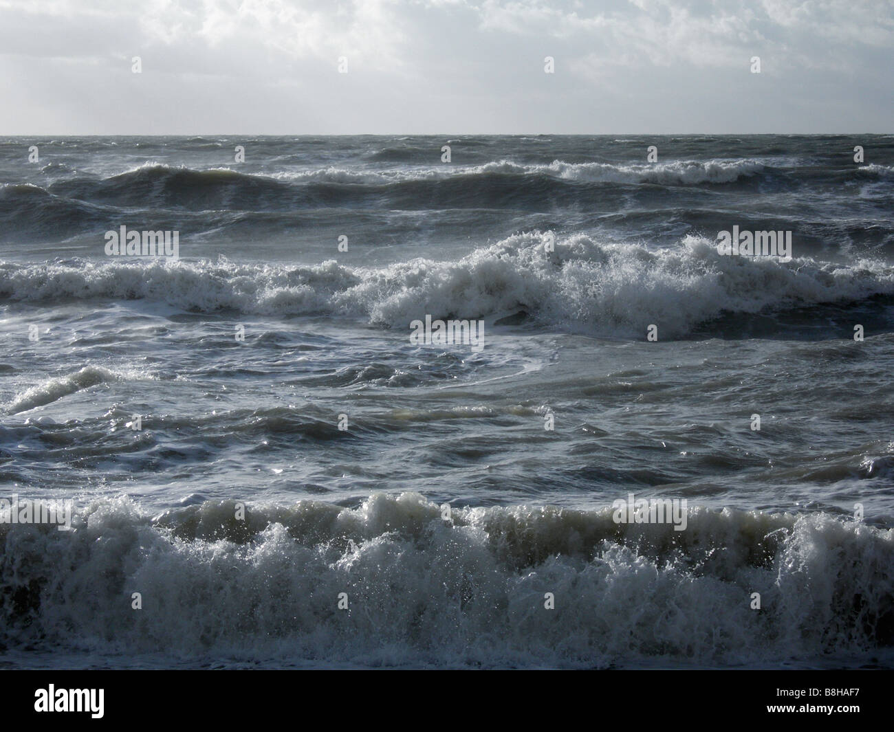 Stormy English seascape - Stock Image