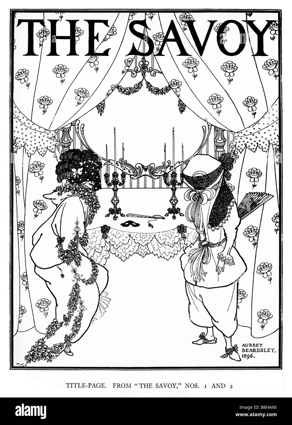 Aubrey Beardsley The Savoy Title Page illustration from the first and second editions of the literary magazine in - Stock Image