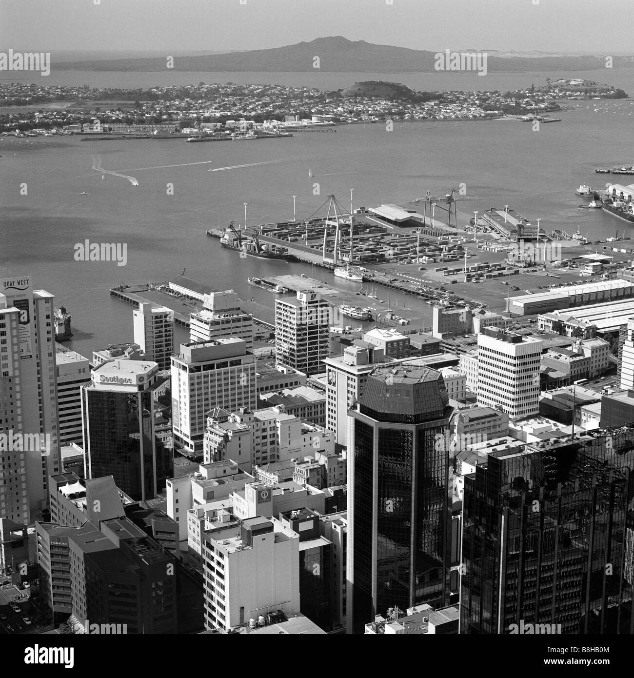 View of Auckland Harbour and Mount Rangitoto from the Sky Tower New Zealand - Stock Image