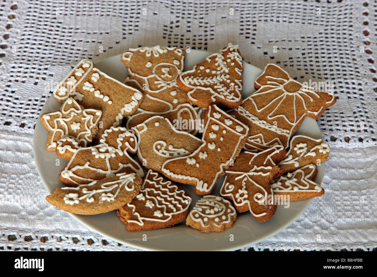 Hungarian Iced Christmas Gingerbread Cookies Stock Photo 22512879