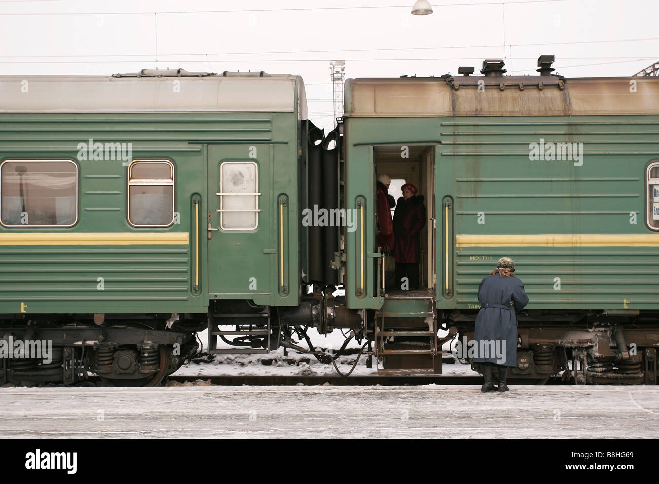 Transsiberian train at the trainstation in Khabarovsk - Stock Image