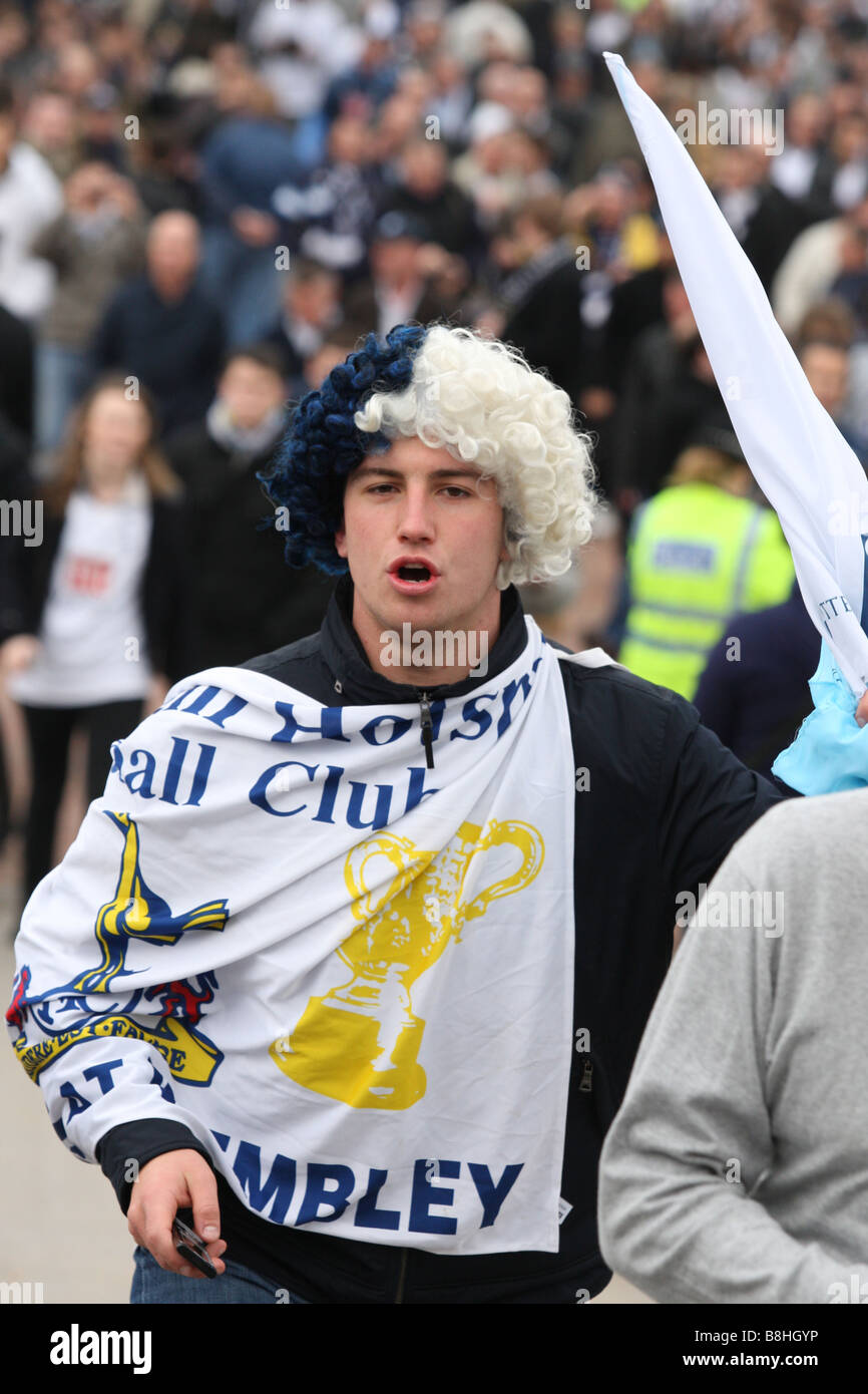 Tottenham Hotspur supporter on his way to Wembley stadium. It was the Carling Cup Final, in which Tottenham beat - Stock Image