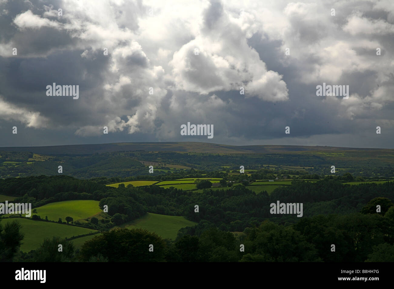 Storm clouds gathering over Dartmoor as seen from Castle Drogo (National Trust) Devon, England, UK - Stock Image
