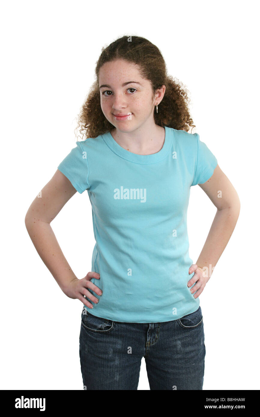 4ab40799533cee A teen girl modeling a blank blue t shirt Perfect for adding a logo ...